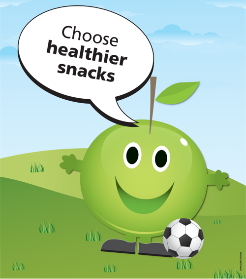 Choose healthier snacks apple poster