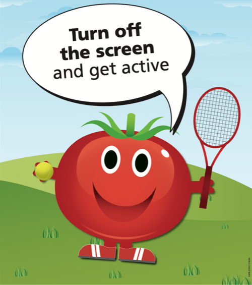 Turn off the screen and get active tomato poster