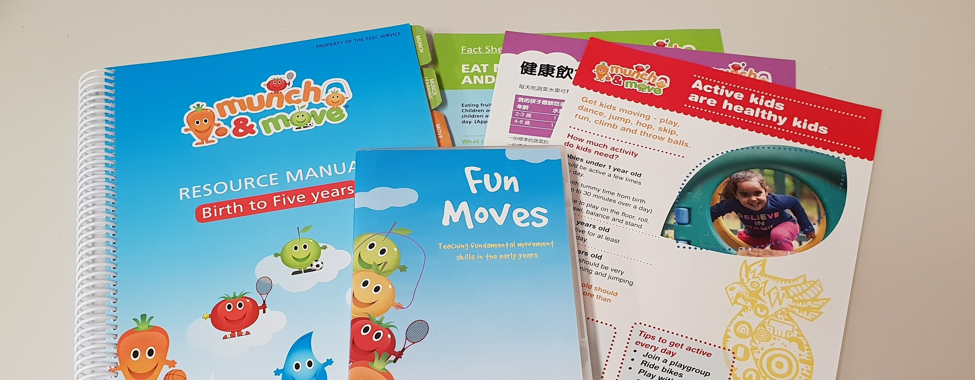 Munch & Move resources displayed on table