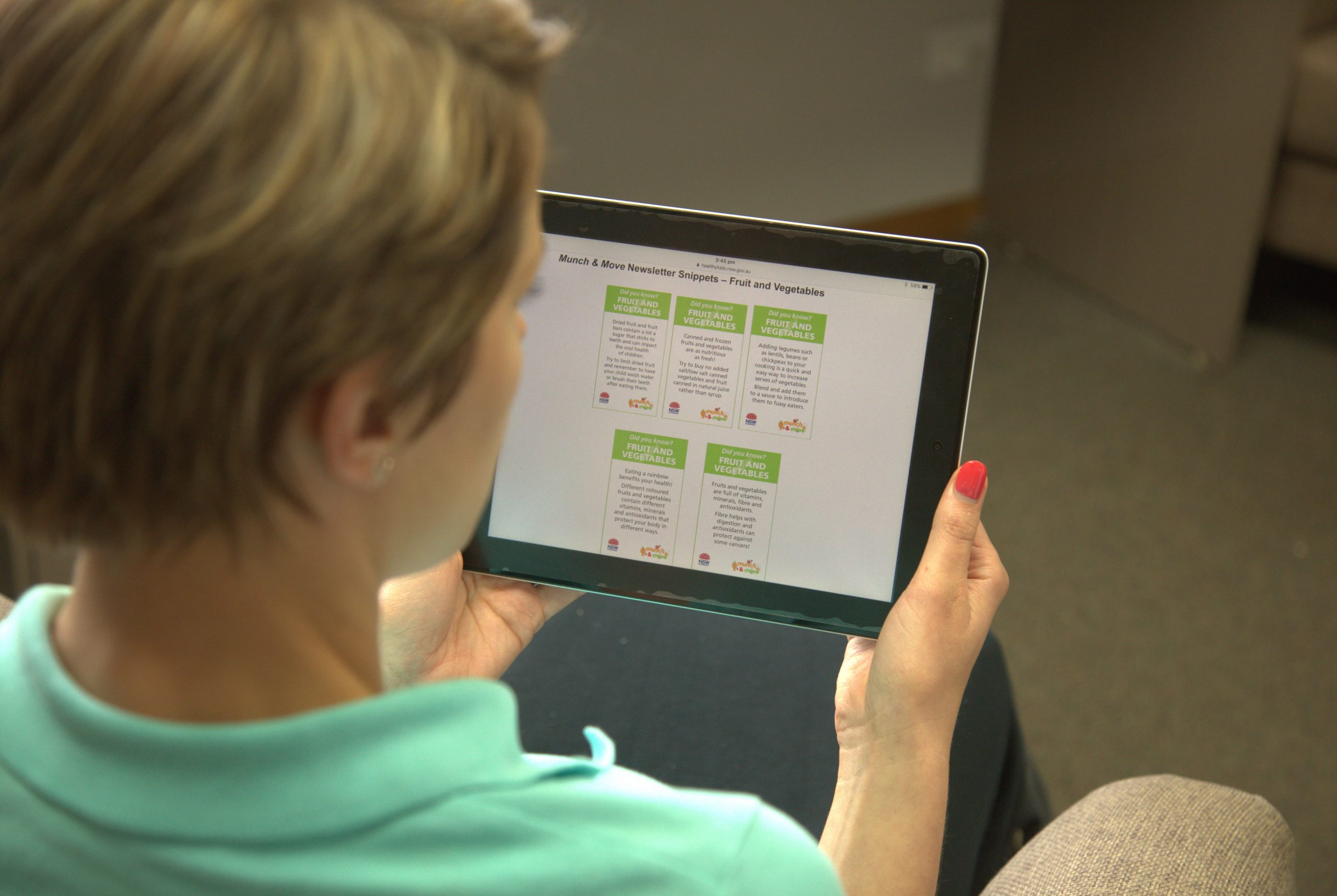 Childhood Educator completes online eLearning on her tablet