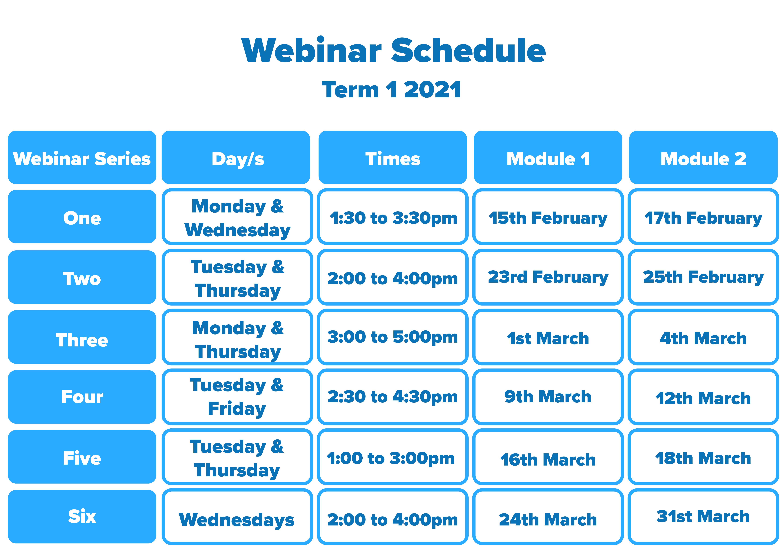 Webinar Schedule Term 1